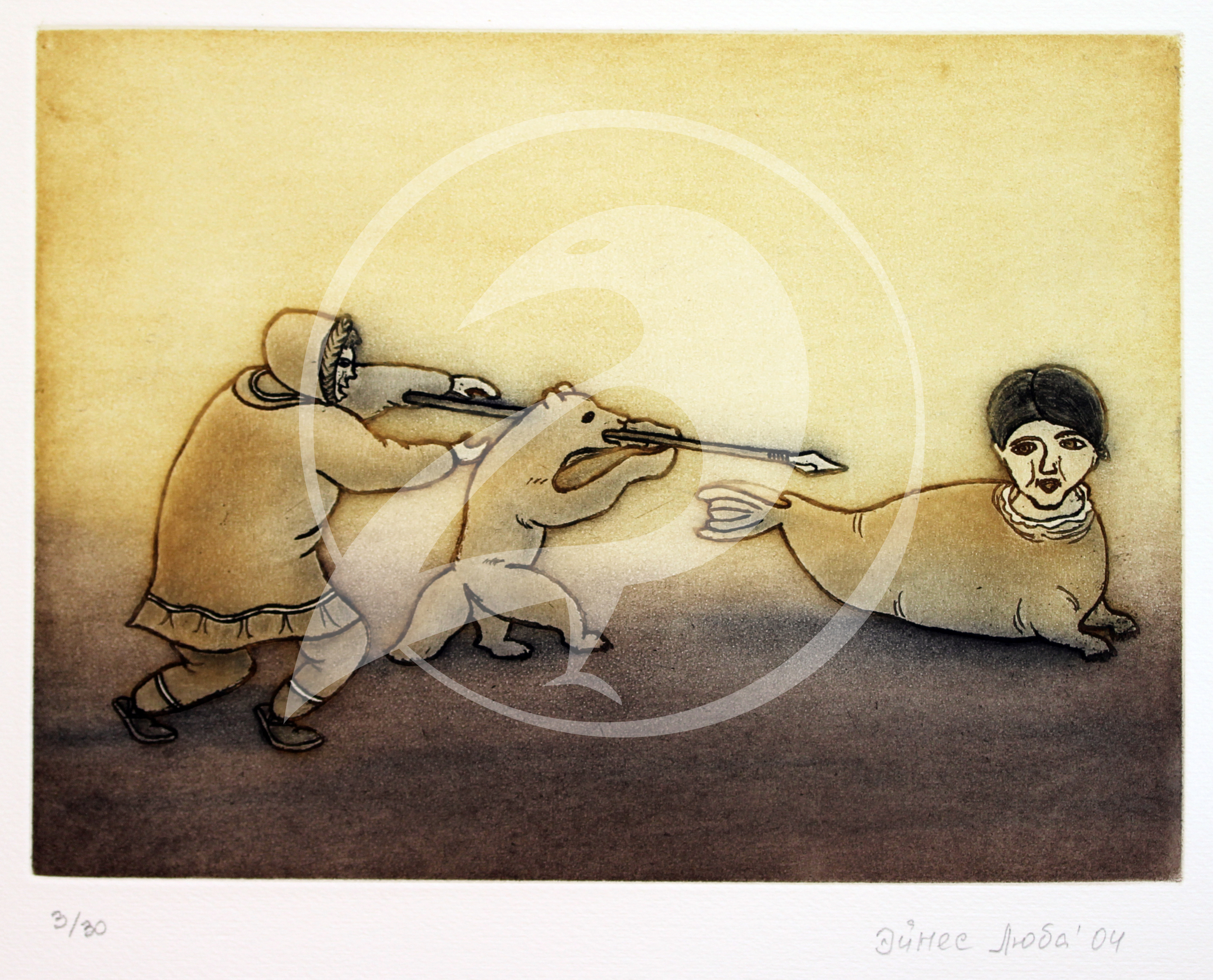 "Luba Eynes.  ""Legend of the Woman Seal.""  Etching. 2004."