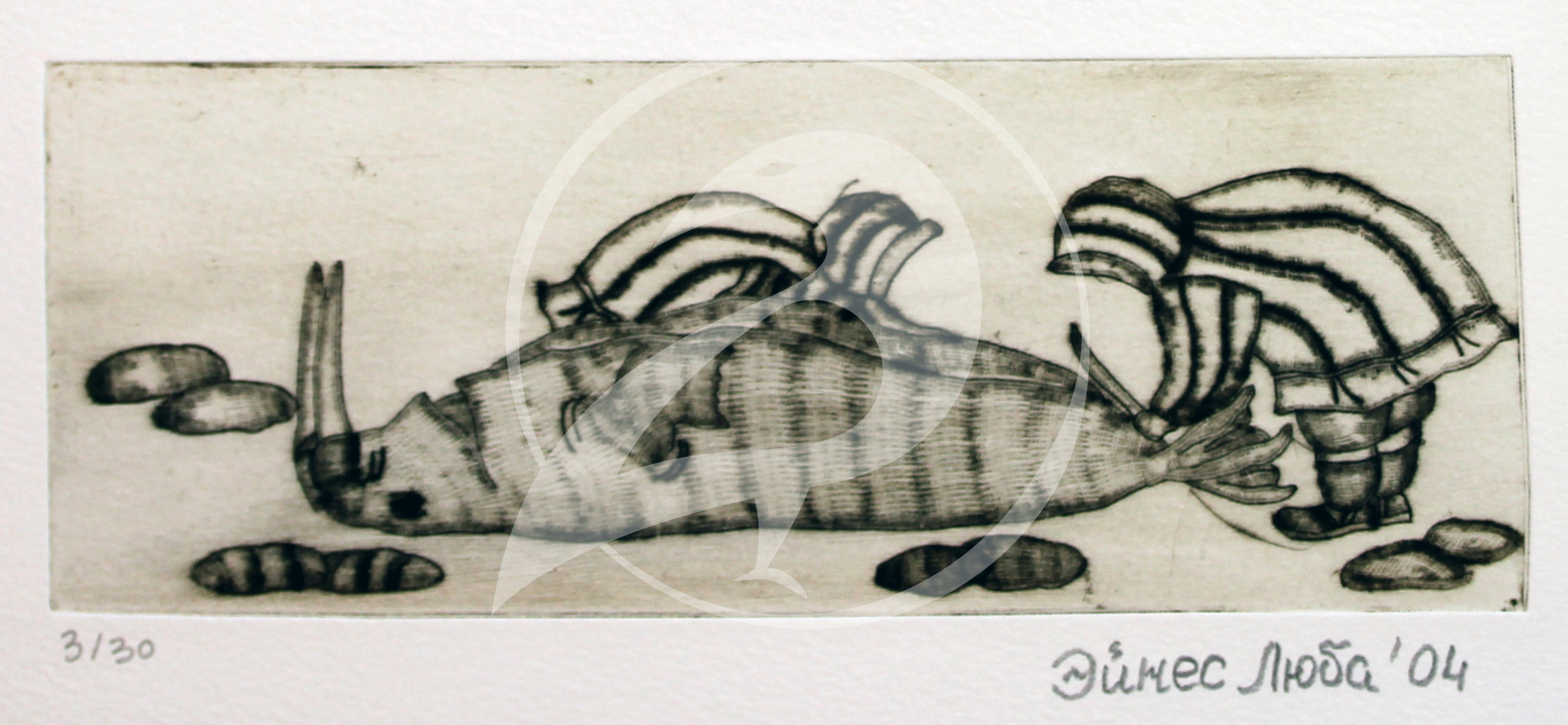 "Luba Eynes.  ""Butchering the Walrus.""  Etching. 2004."