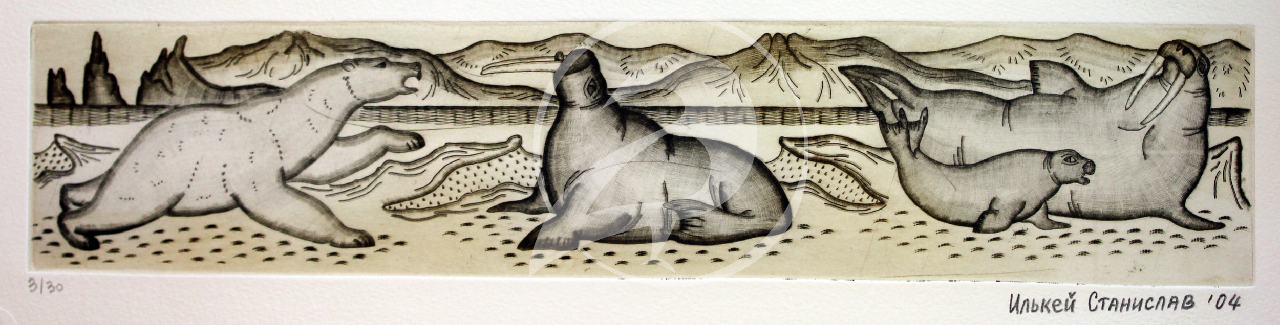 "Stanislav Il'Key.  ""Polar Bear Attacking Walrus.""  Etching. 2004."