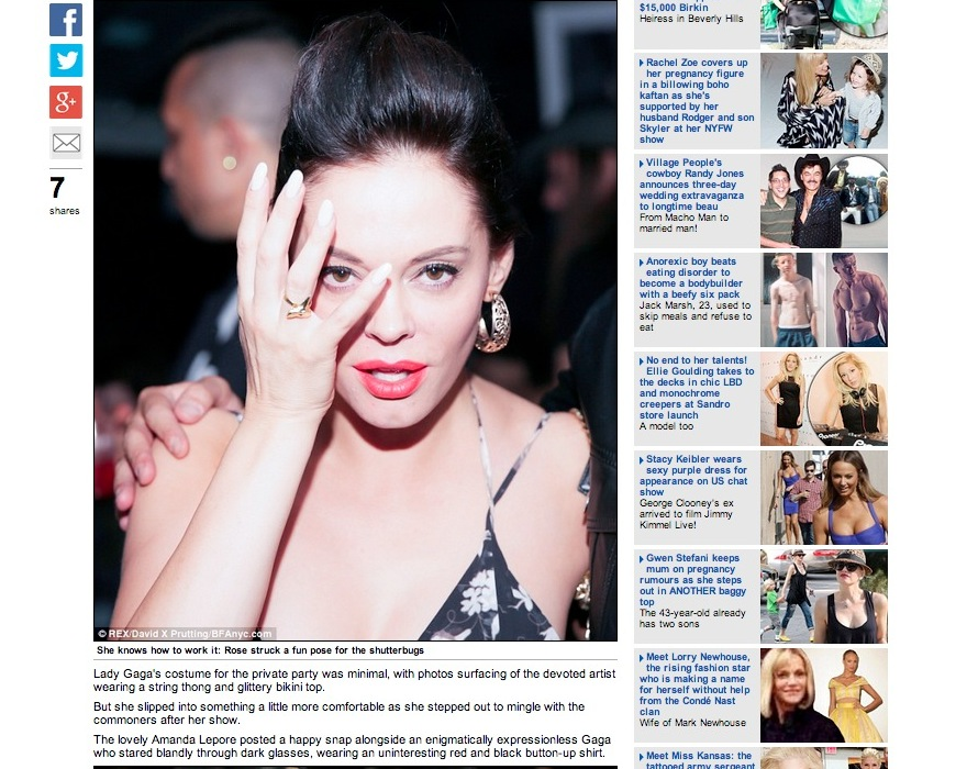 Rose McGowan on Daily Mail in our Petite Gold Shark Tooth Ring during New York Fashion Week at the V Magazine Party