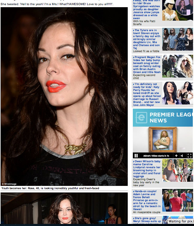 Rose McGowan in our gold Carousel Tiger Necklace   http://www.dailymail.co.uk/tvshowbiz/article-2518565/Shes-Charmed-alright-Rose-McGowan-40-turns-years-bares-midriff-W-Magazine-party-Malibu.html