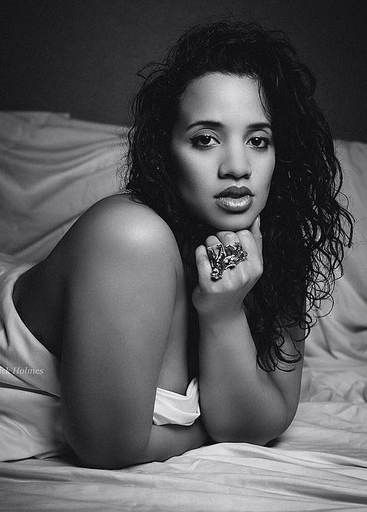The beautiful & talented Dascha Polanco, star of Orange is the New Black, photographed by Nick Holmes in nothing but our Double Tiger Ring while shooting for her feature film Joy. Photo: @Sheisdash Instagram