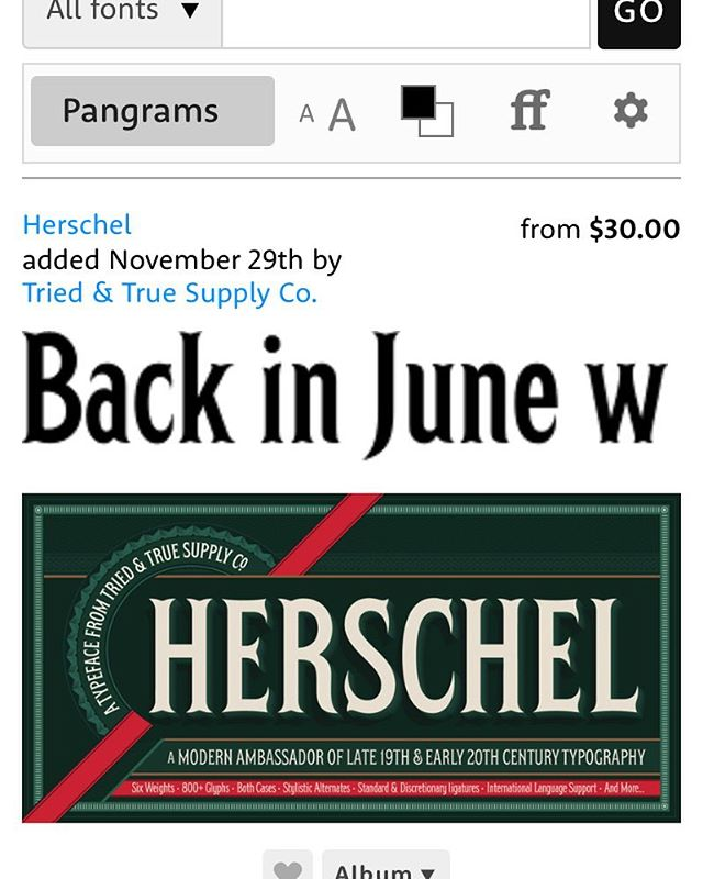 Watching Herschel (first type release from @triedandtruesupply) climb the My Fonts Hot New Fonts list and feeling ooober (GG reference) proud of my hubby. He works so hard and even if it wasn't on this list I would be so proud! #herscheltypeface