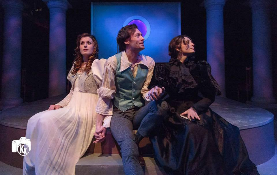 """Susan Derry as Mary Shelley with Catherine Purcell as Claire Clairmont and Alan Naylor as Percy Shelley in Conner and Smith's """"Bold New Work"""" Monsters at the Villa Diodati"""