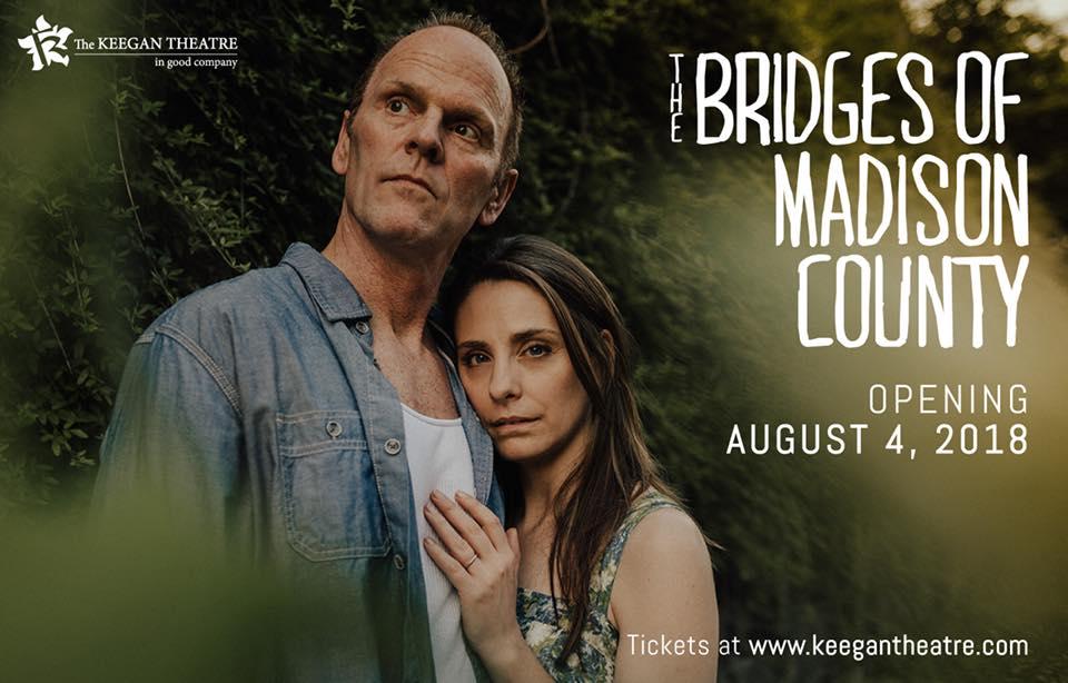 Susan Derry as Francesca and Dan Felton as Robert in Bridges of Madison County at Keegan Theatre, publicity