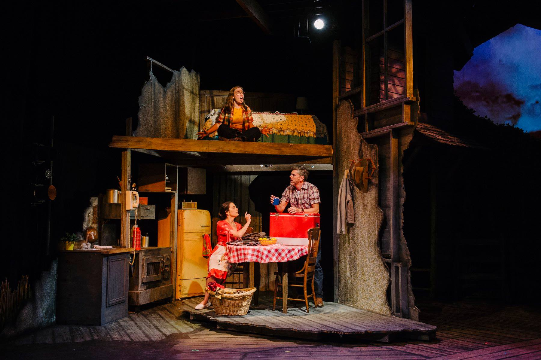 Susan Derry as Francesca with Chad Wheeler as Bud, Lily Warner as Carolyn in Bridges of Madison County at Keegan Theatre