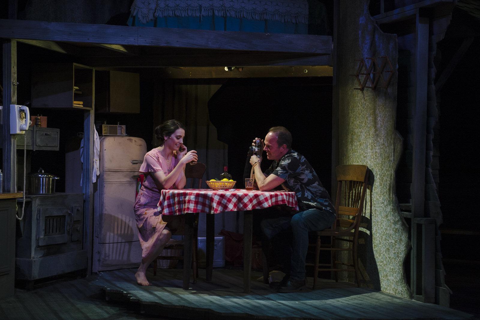 Susan Derry as Francesca and Dan Felton as Robert in Bridges of Madison County at Keegan Theatre