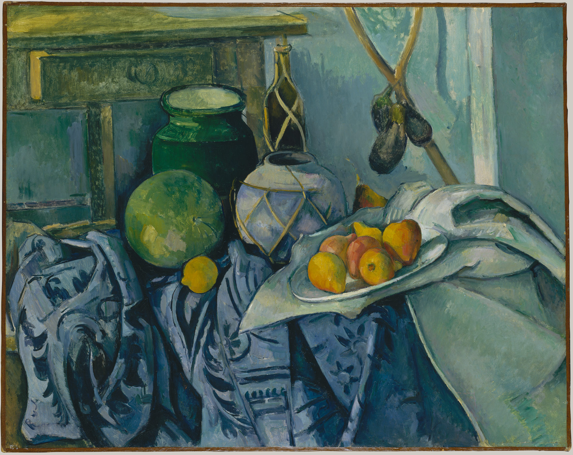 Paul cezanne,Still Life with a Ginger Jar and Eggplants,1893–94,Oil on canvas, 28 1/2 x 36 in.