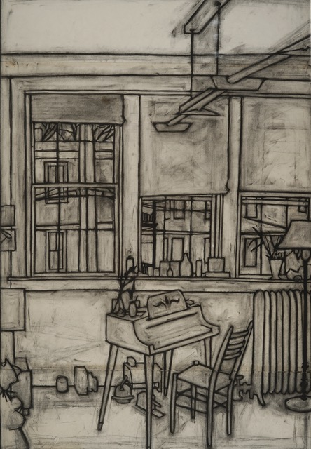 Charcoal drawing from life of my cambridge studio, 1973