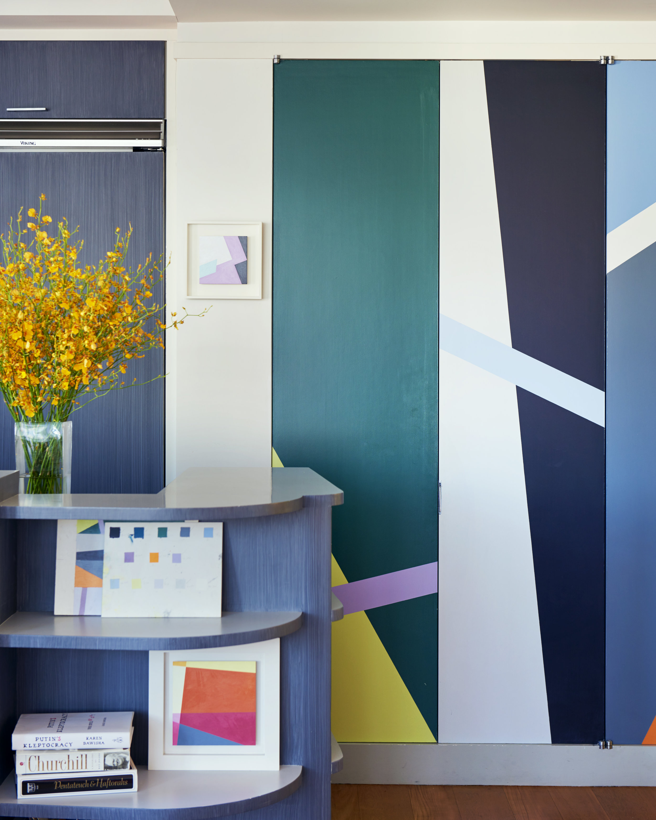 Seligson painted the pantry doors in vibrant hues. Photograph by Kyle Knodell. Courtesy Paddle8.