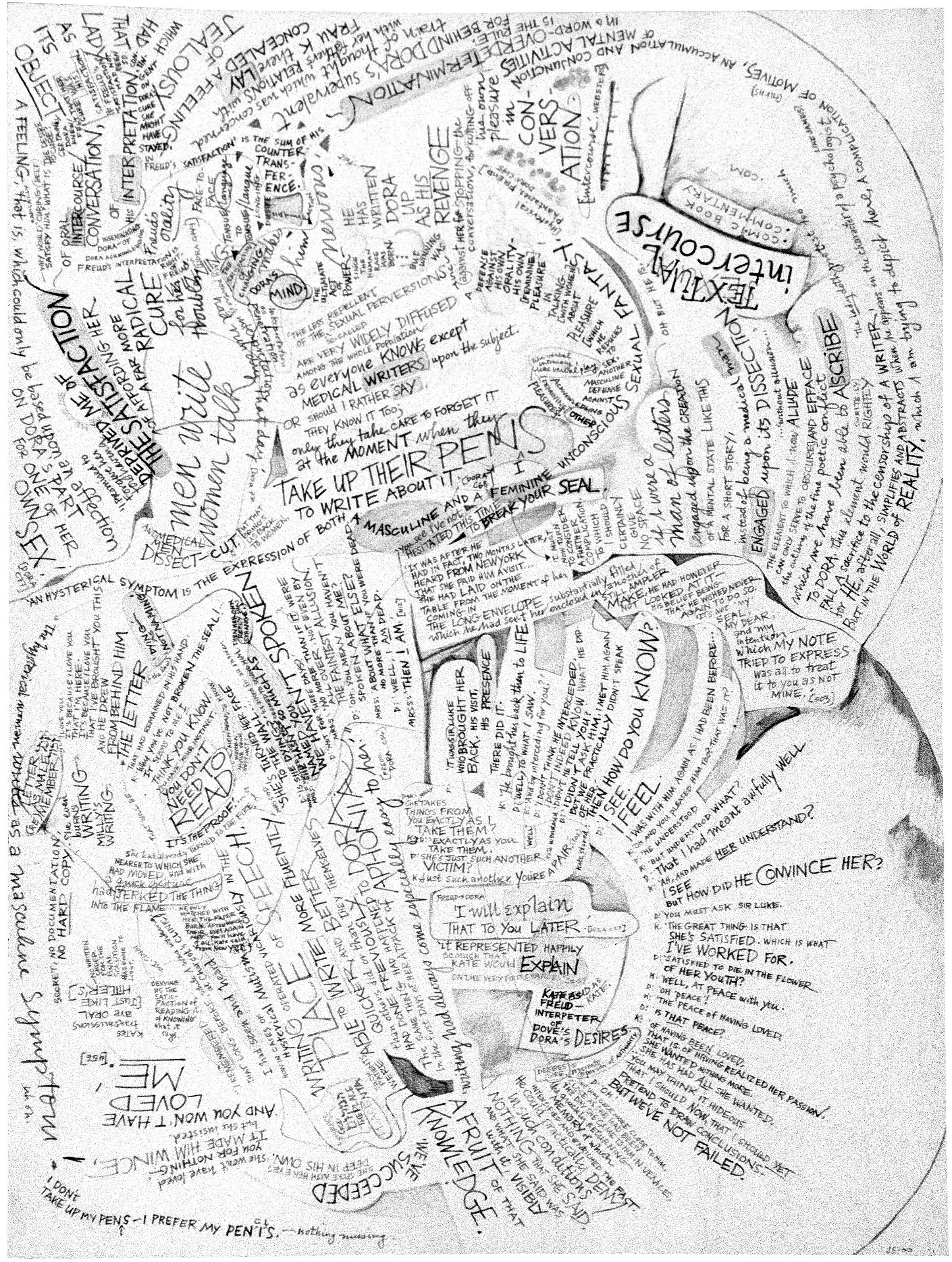 textual intercourse , graphite on aquarelle arches cold press paper, 10x14 inches, 2000