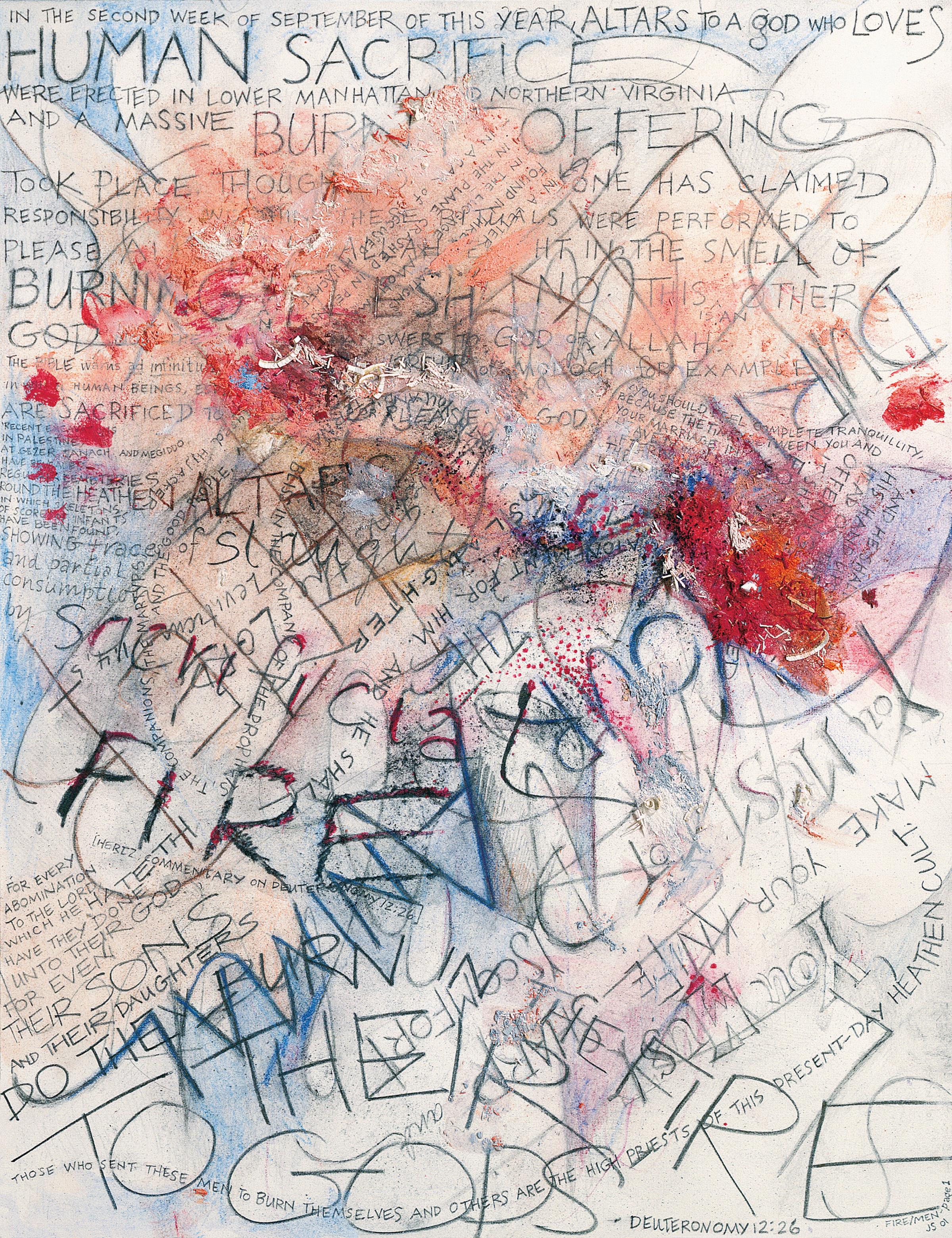 fire/men , colored pencil, graphite, pencil shavings, aquarelle arches cold press paper, 10x8 inches, 2001