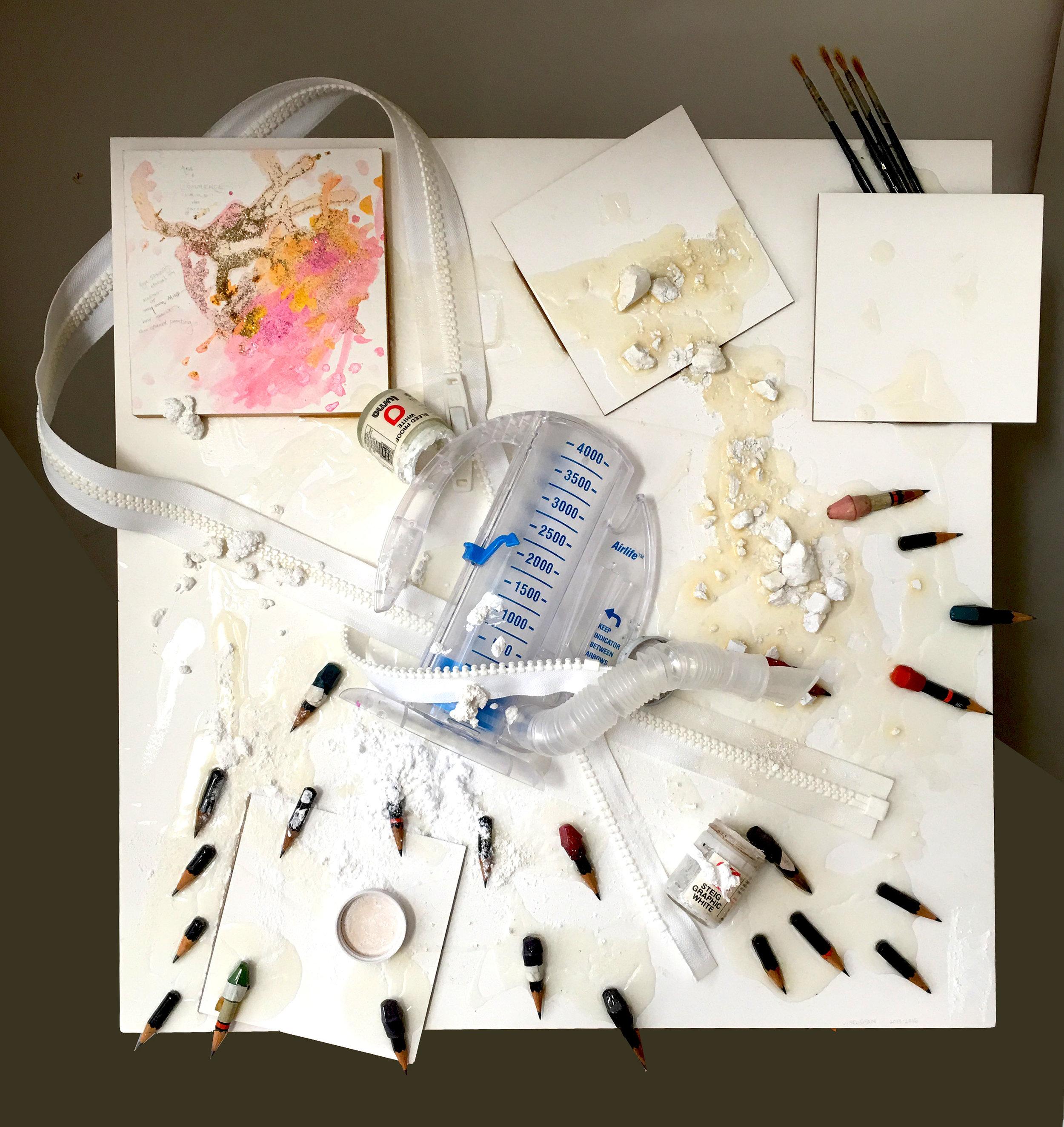 breathe , multi-media (pencil stubs, hospital breath builder, zipper, worn brushes)on gessoed acid-free masonite, 22x22 inches, 2016