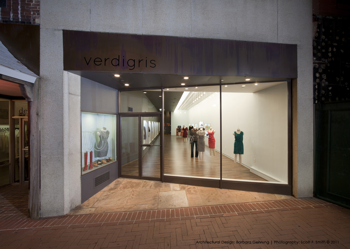 storefront fo verdigris a bg design project