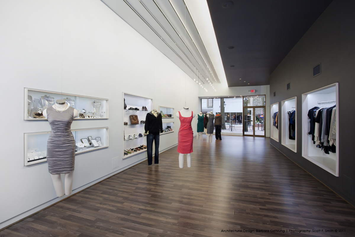 architectural design showing additional recessed displays and floating mannequins