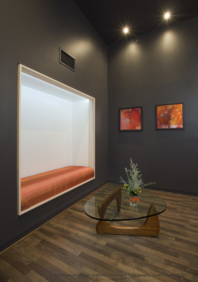 Recessed lounge and built-in sofa design by bg design and consulting