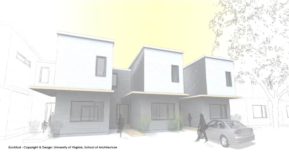 Modular ecoMOD passive house town homes.  Rendering: UVA