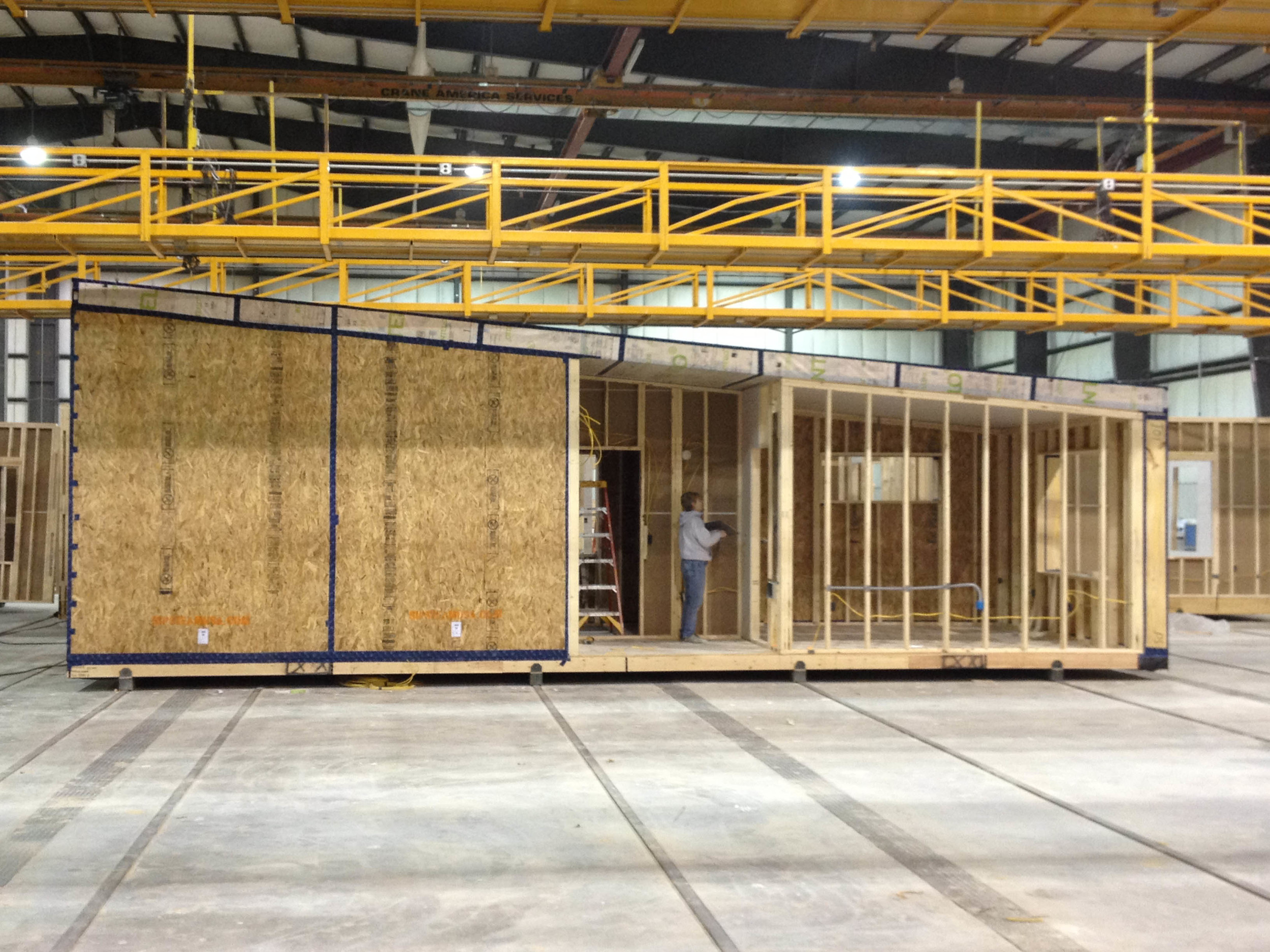 ecoMOD passive house module under construction at the factory line at Cardinal Homes.  Photo Credits: Barbara Gehrung, Charlottesville