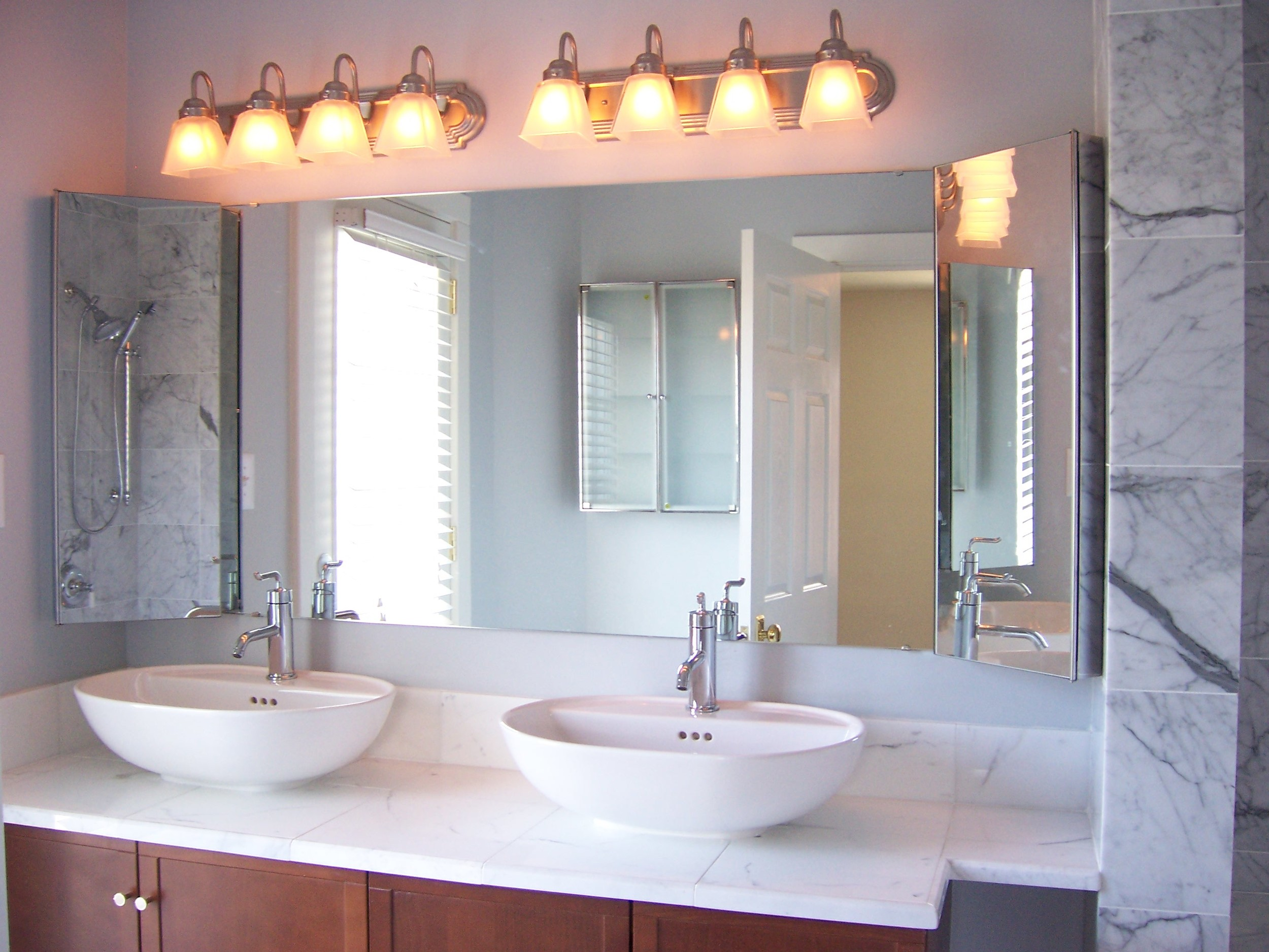 Belmont Four Square Master Bath - Marble Tile, Double Vanity with Vessel Sinks