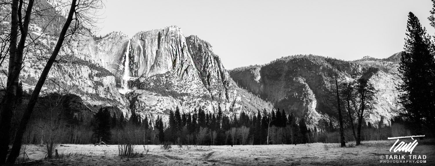 Wide view of Yosemite Falls taken from Sentinel and Cook's Meadow near Swinging Bridge.