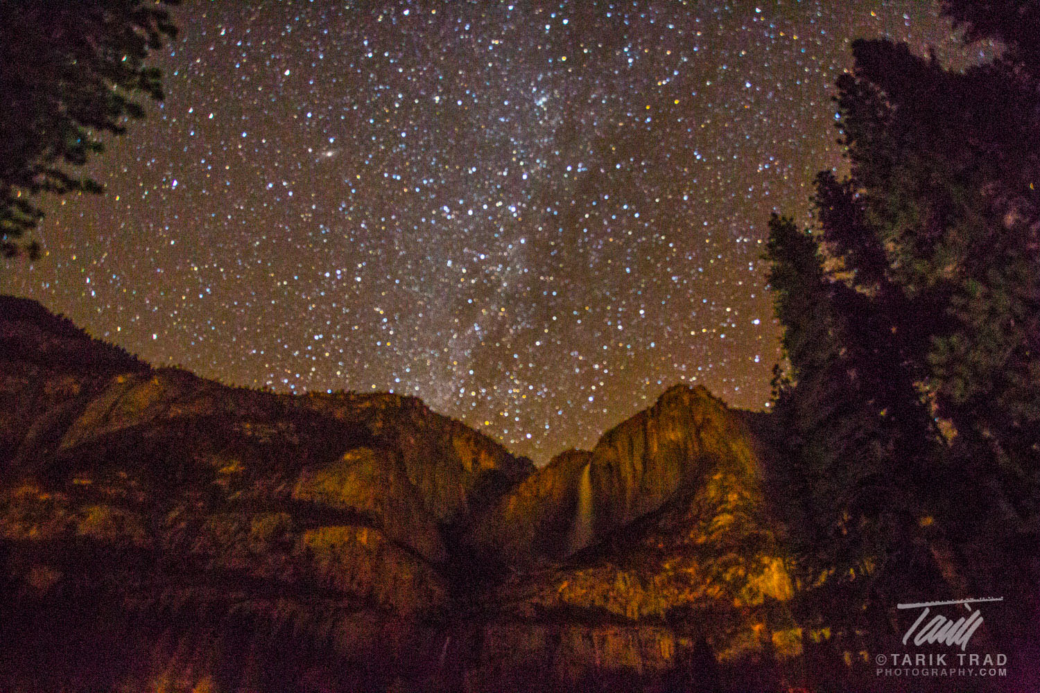 Yosemite Falls and the Milky Way. Click to view large image.