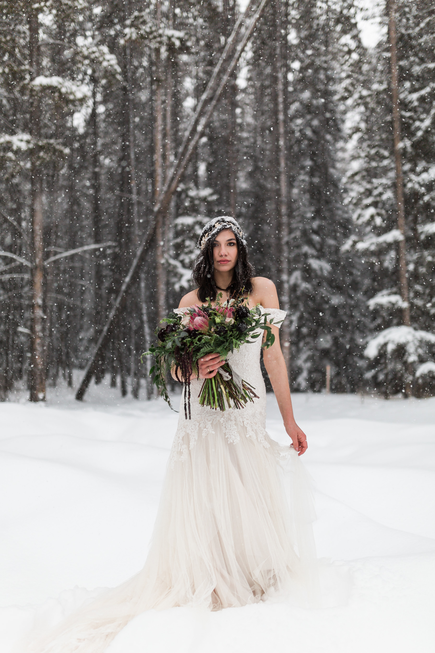 Bride in a snowy mountain