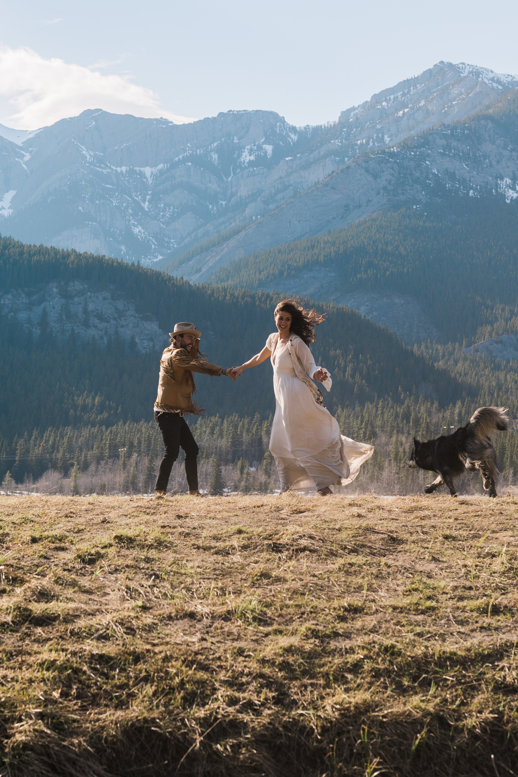 Adventurous boho wedding photography with animals