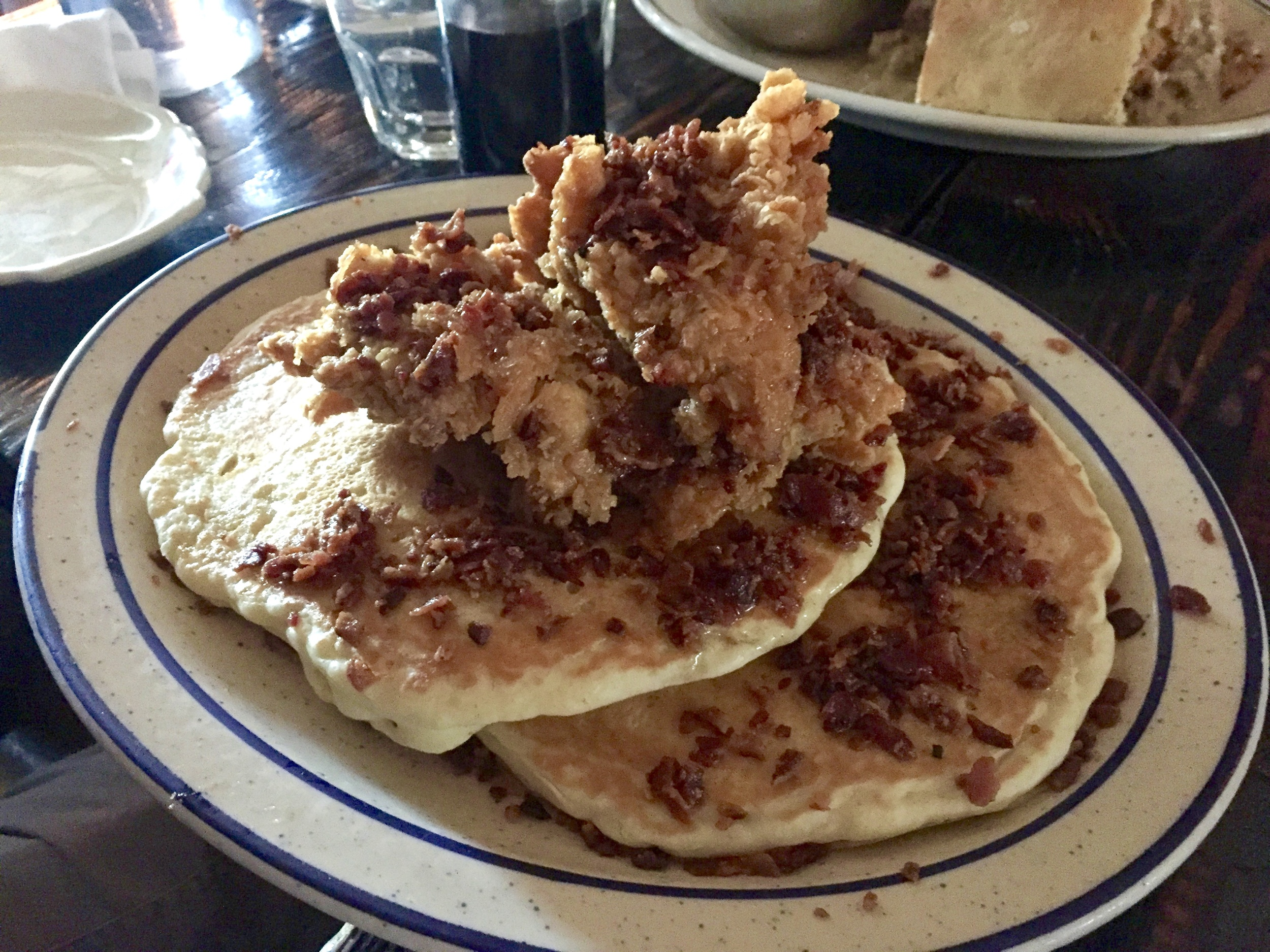 Fried chicken, bacon, and pancakes