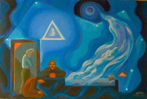 "Oil painting ""Death"" oil on canvas, 36"" x 26"""