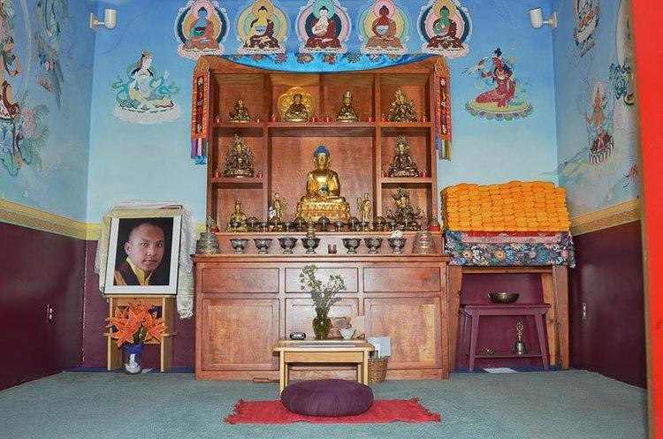 The shrine room interior of the Kagyu Mila Guru Stupa