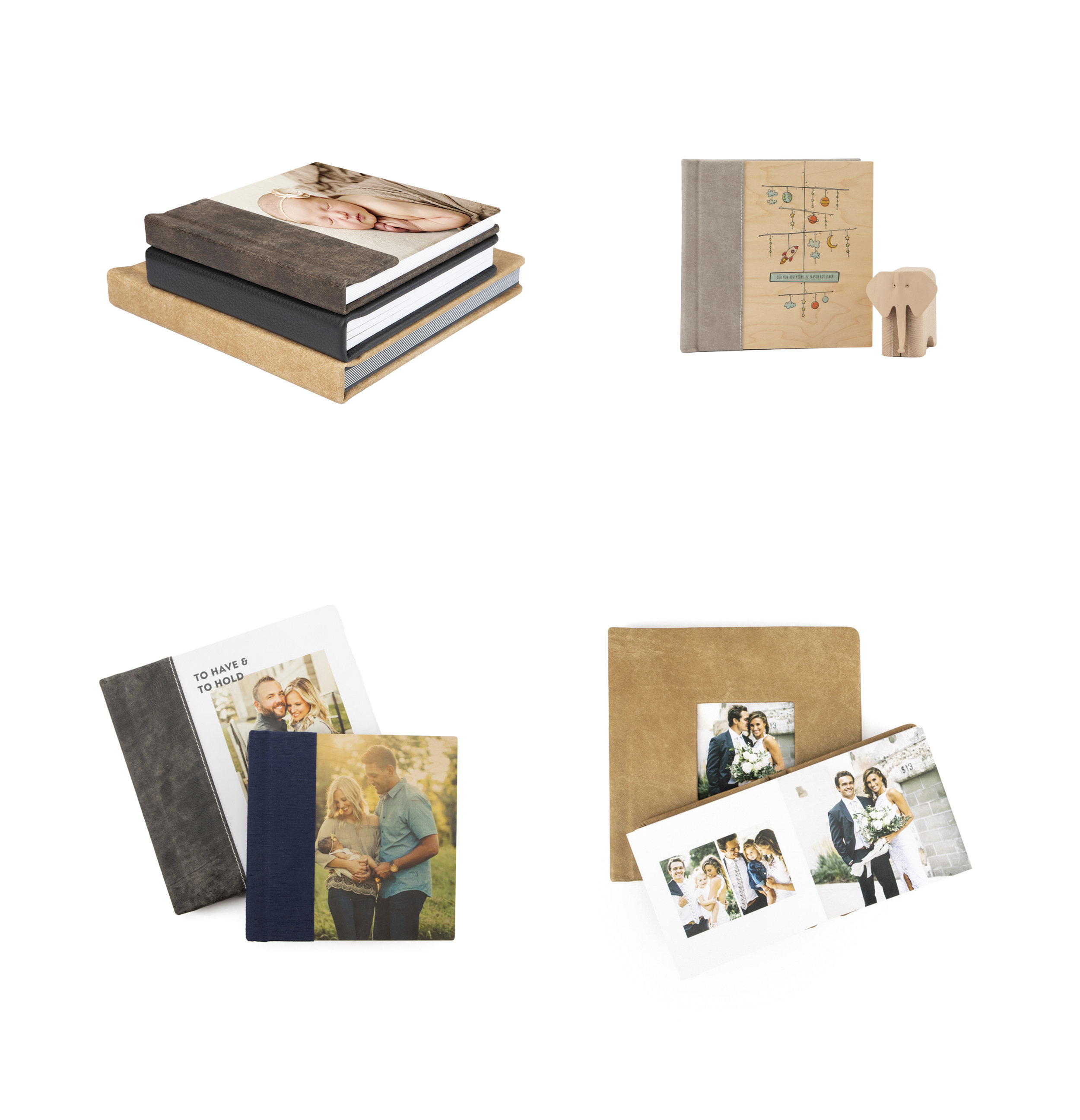 """ALBUMS START AT 8""""X 8"""" up to 12""""X12""""   Finish Options:   Premium Lustre Photo Paper  Deep Matte Photo Paper   COVER OPTIONS   Metallic and Fabric w/wo Photo  Fine Art Custom w/wo Photo  Leather, Vegan Leatherette w/wo Photo"""