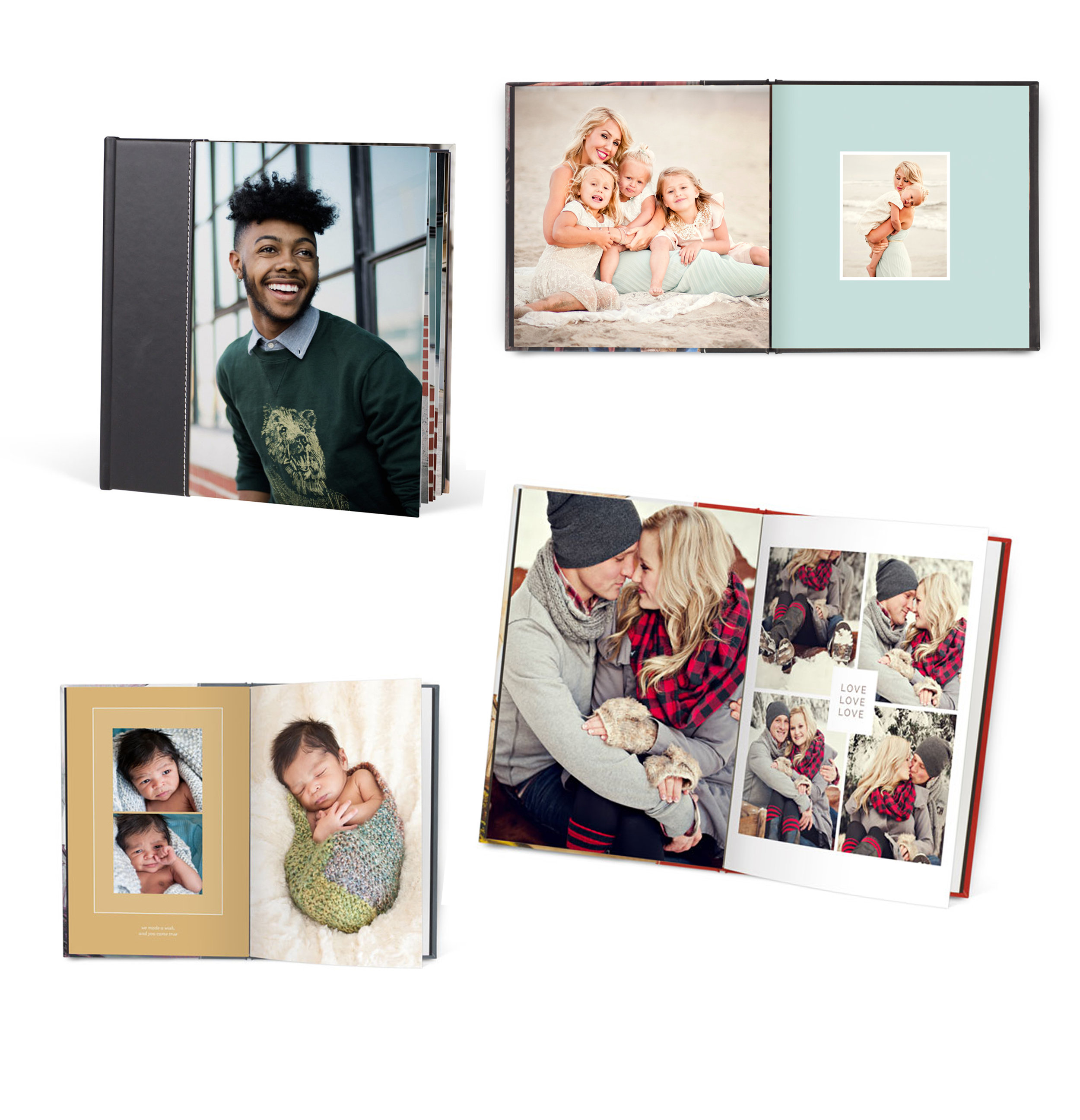 """BOOKS START AT 5""""X 5"""" and go up to 11""""X 14"""" for magazine style   Finish Options:   Lay Flat Matte  Lay Flat Satin  Magazine Paper Style   COVER OPTIONS   Metallic, Fabrics, Leathers w/wo photo"""