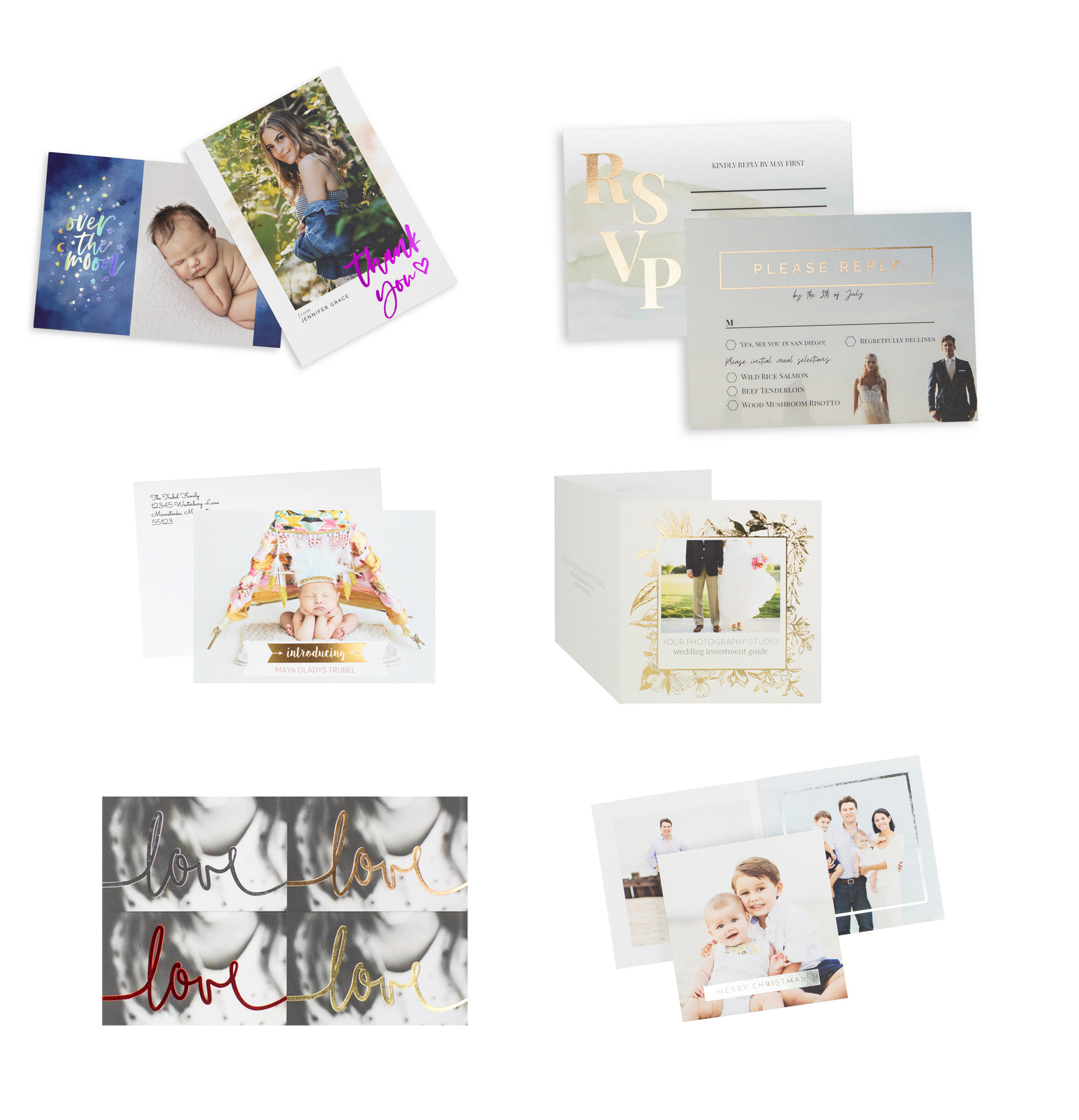 """FOIL CARDS FOR EVERY OCCASION  PACKS OF 12 - CUSTOM DESIGNS  5"""" X 5"""" AND 5"""" X 7"""""""