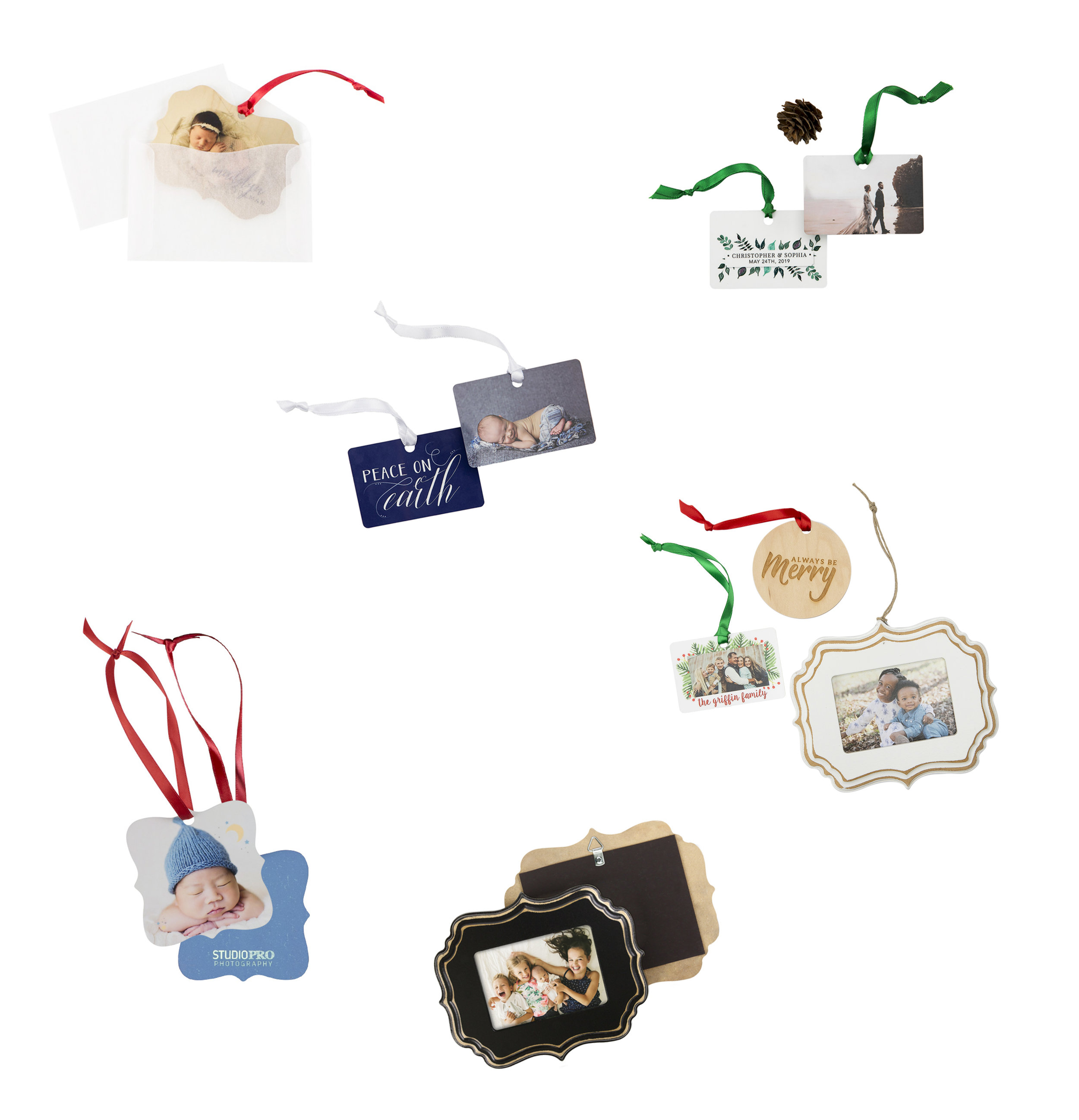 """ORNAMENTS ARE METAL OR WOOD  Can be used for special announcements,  Save the Dates and Holidays 2"""" to 4"""""""