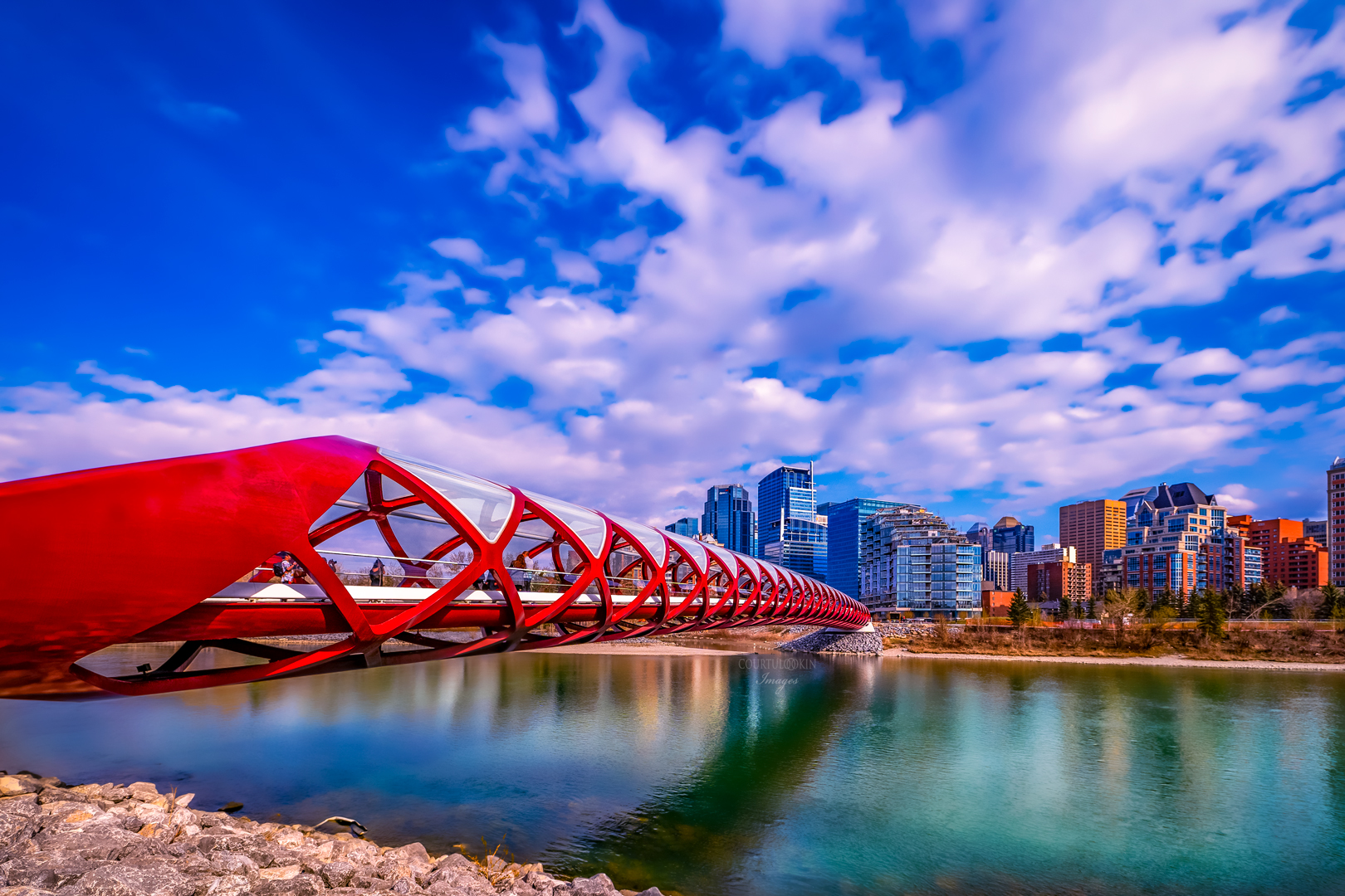 """ARTIST CREATED METAL WALL PRINT  FLOAT MOUNTED  PEACE BRIDGE CALGARY CANADA   SIZE 16"""" X 20"""" $175    SIZE 30"""" X 40"""" $465   See Full Rendering In the Album"""