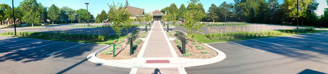Parking lot retrofit and raingardens at First Presbyterian Church Oak Park Heights, MN