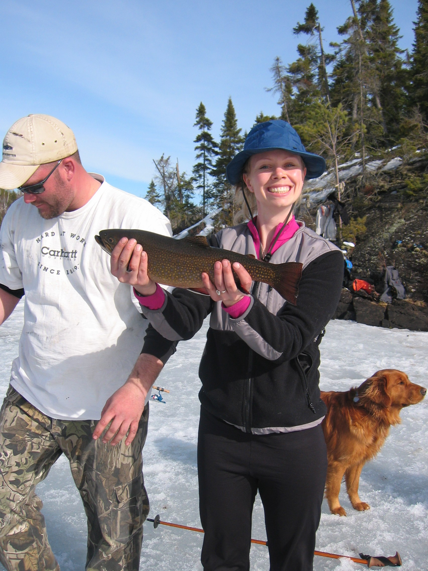 Amber Adam shows off a brook trout in the BWCA. Brook trout are no longer reproducing in Brown's Creek, but can still be found in Valley Creek.jpg