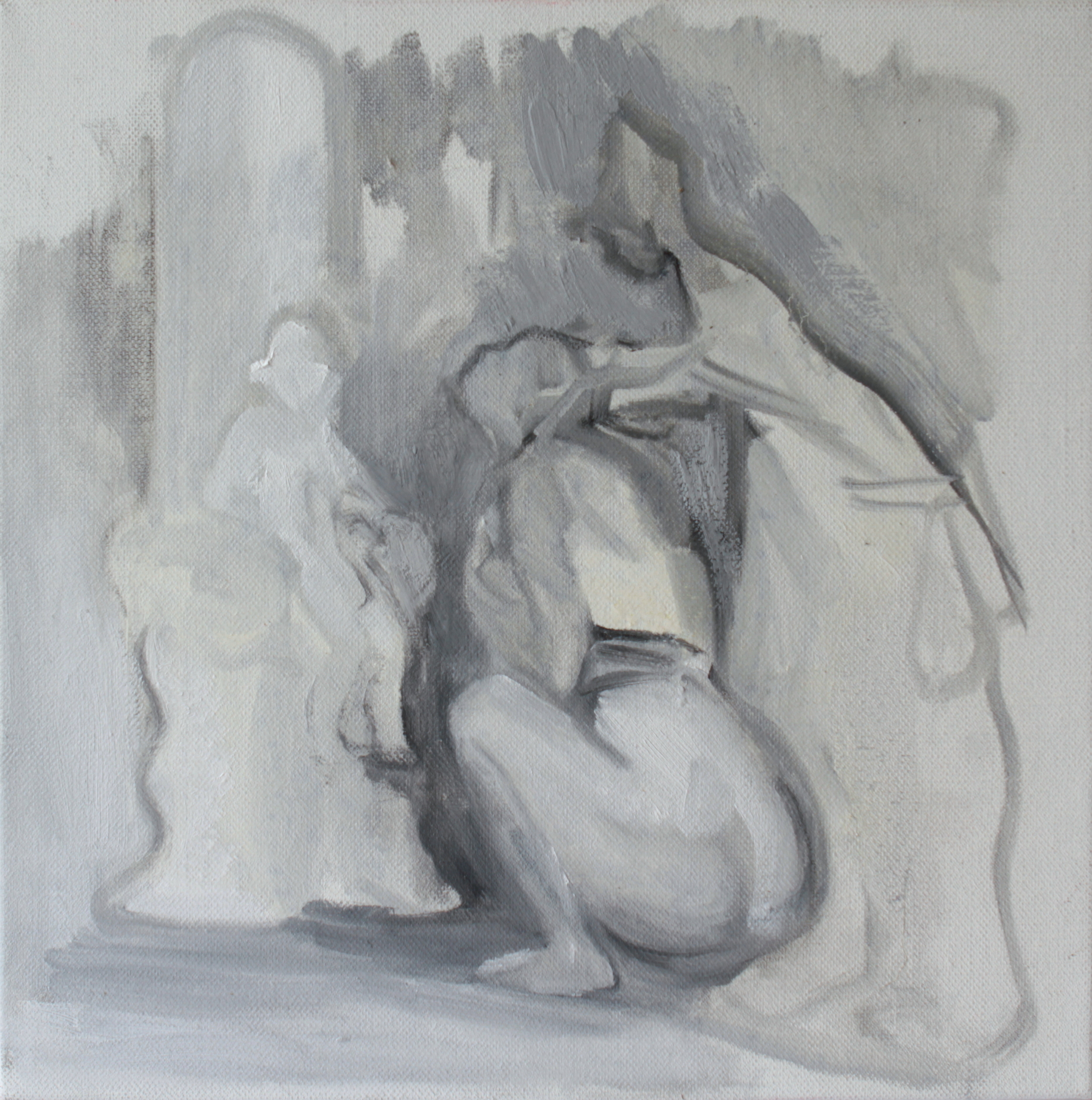 The Audience, Oil and encaustic on linen, 37.8 x 37.8 cm, 2015