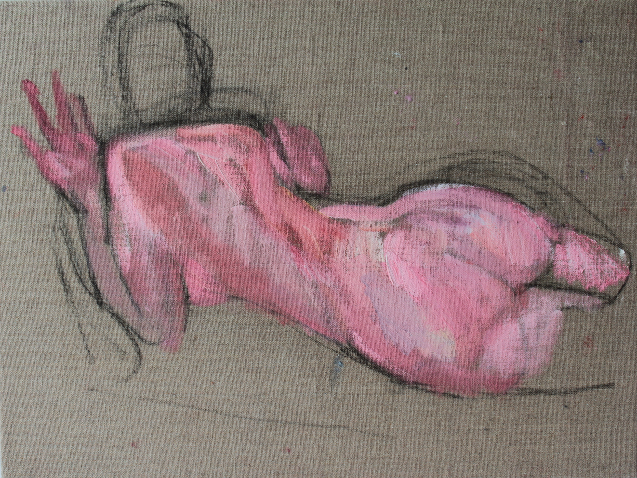 Rump, Oil and charcoal on linen, 37.9 x 50.4 cm, 2015