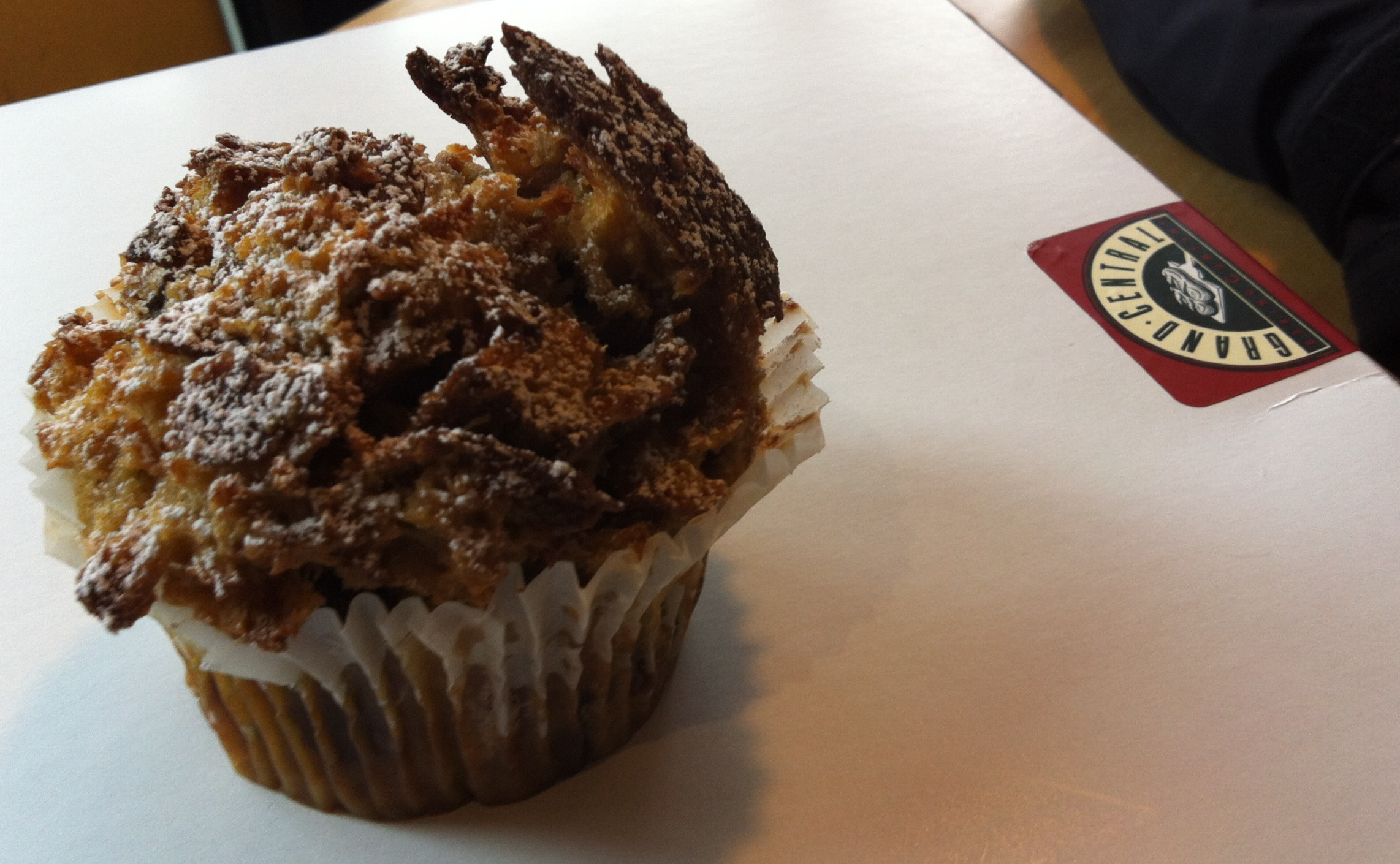 A photo of Grand Central's bread pudding muffin - that I ate immediately after taking this picture!