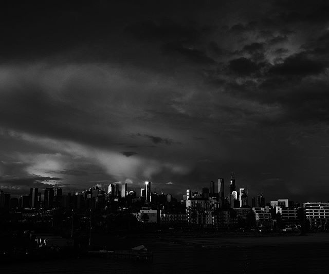 Moody sky over #Melbourne from the #spiritoftasmania on my way home after a super quick trip #olympusinspired #olympuspenf #penf #monochrome
