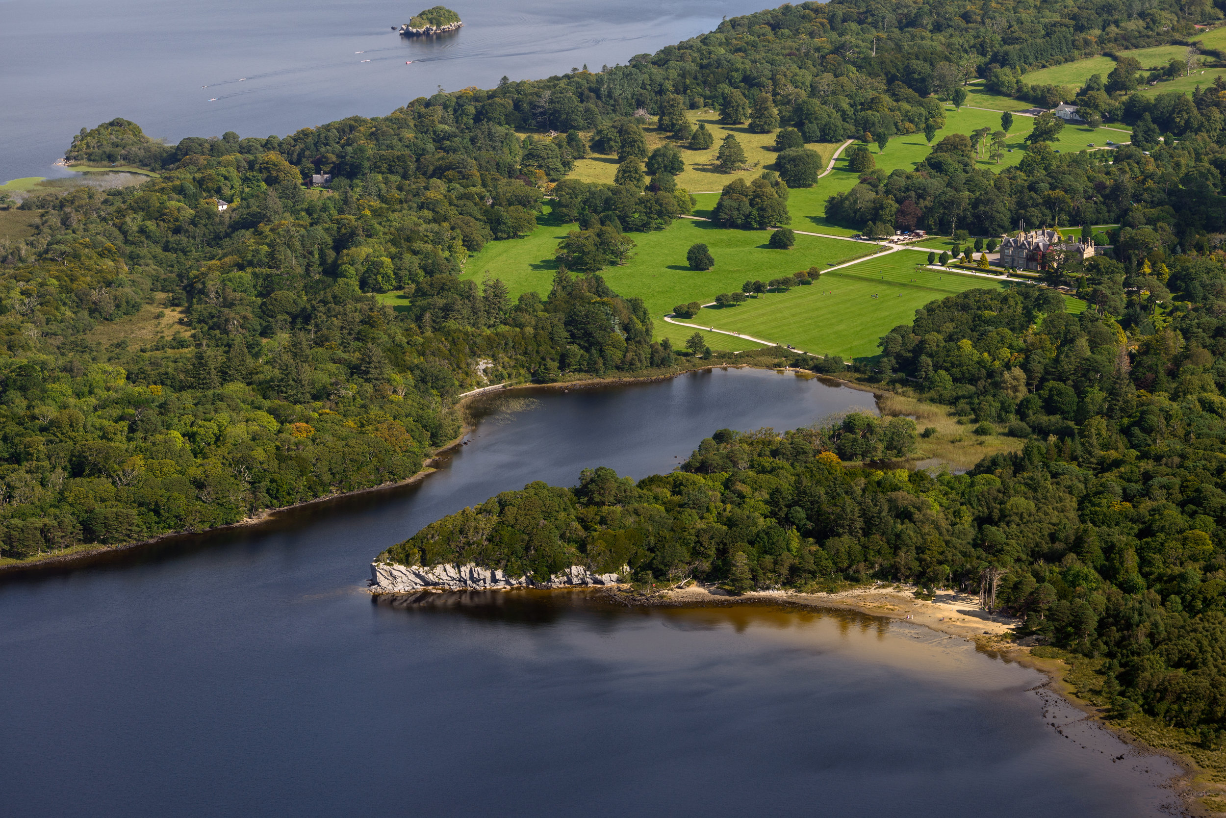 Aerial view of Muckross House and Dundag Point in Killarney National Park.jpg