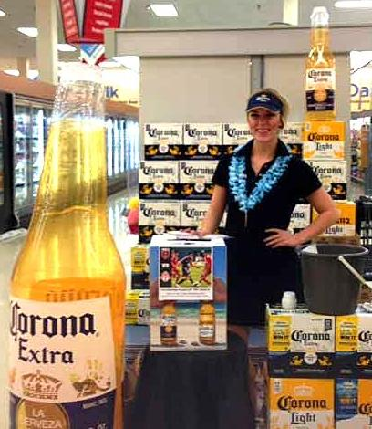 Beauté conducting a Corona tasting and DC United ticket giveaway at Shoppers Food Warehouse
