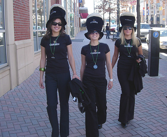 Beauté street team promotes Guinness during a St. Patrick 's Day event  Bar and Special Events