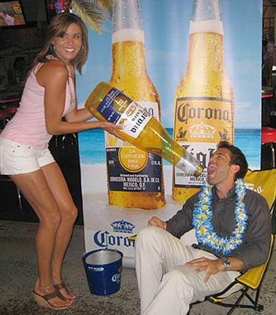 Beauté promotes Corona at Corona Beach party events.