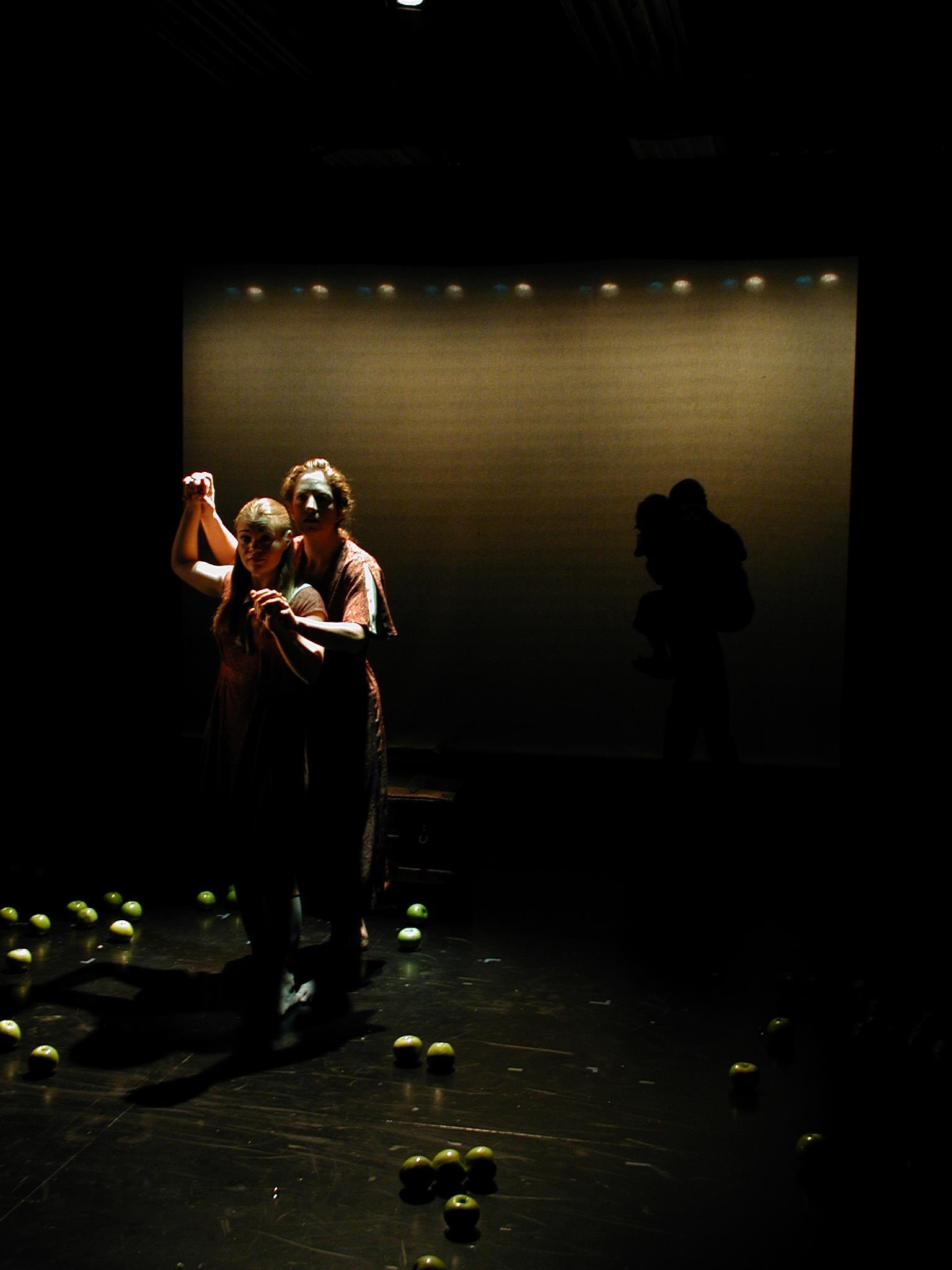 THE SECRET OF STEEP RAVINES Julia Prud'homme, Genna Brocone (foreground), Kameron Steele, Patrick Lacey (background). Photo by Ilona Somogyi.