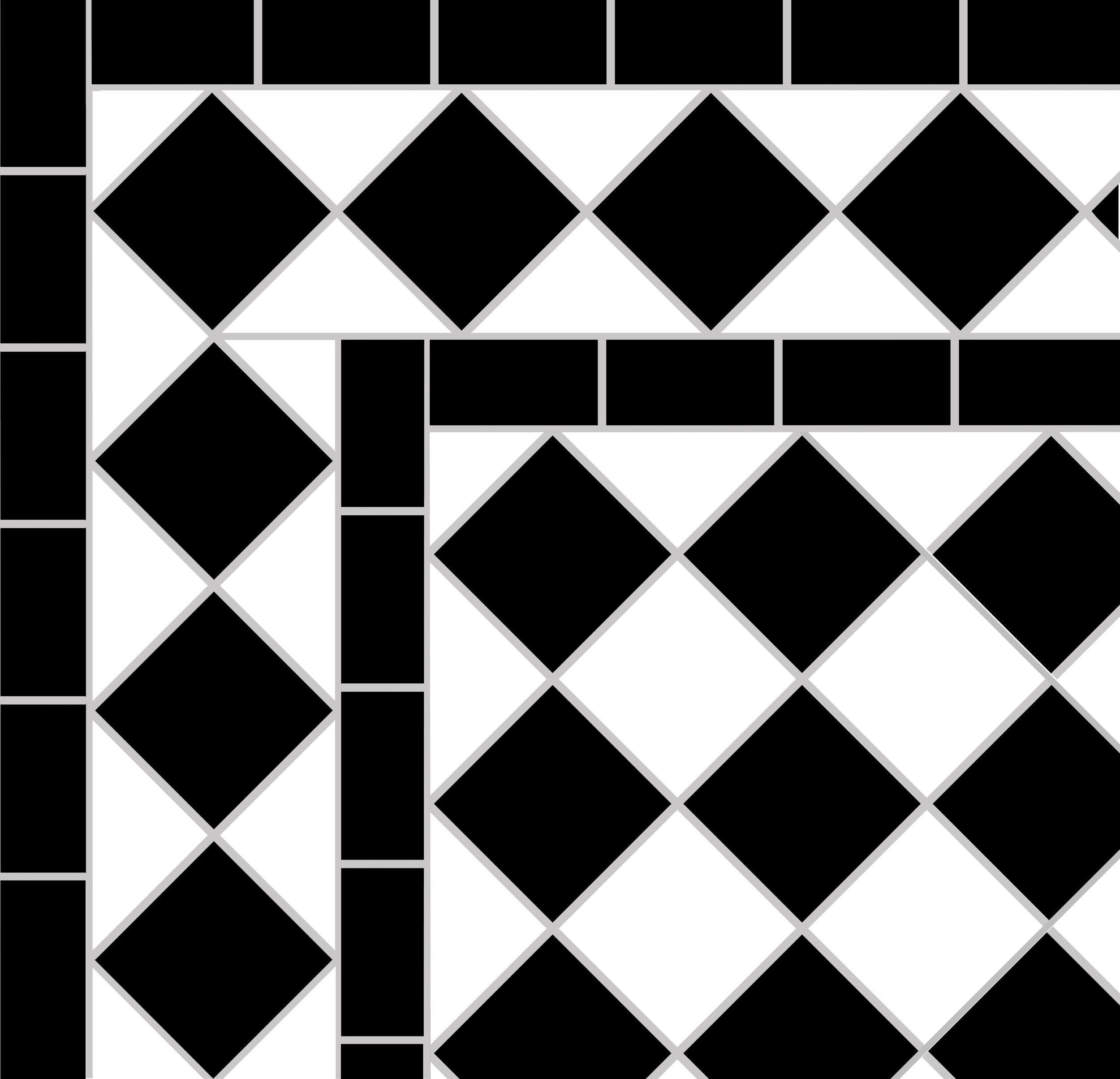 Black and white victorian   path tiles