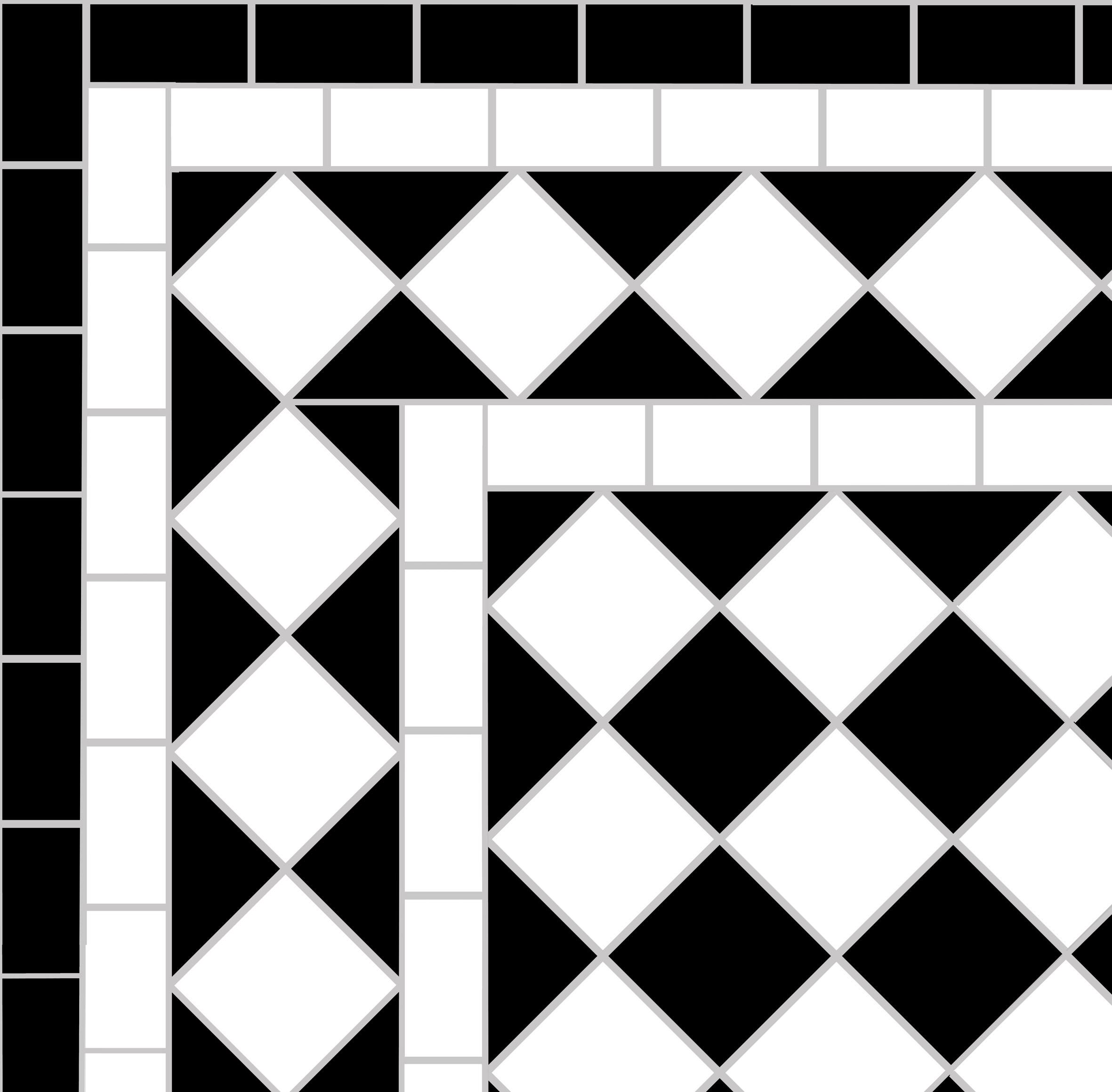 Victorian path tiles - black & white chequer with white diamond border