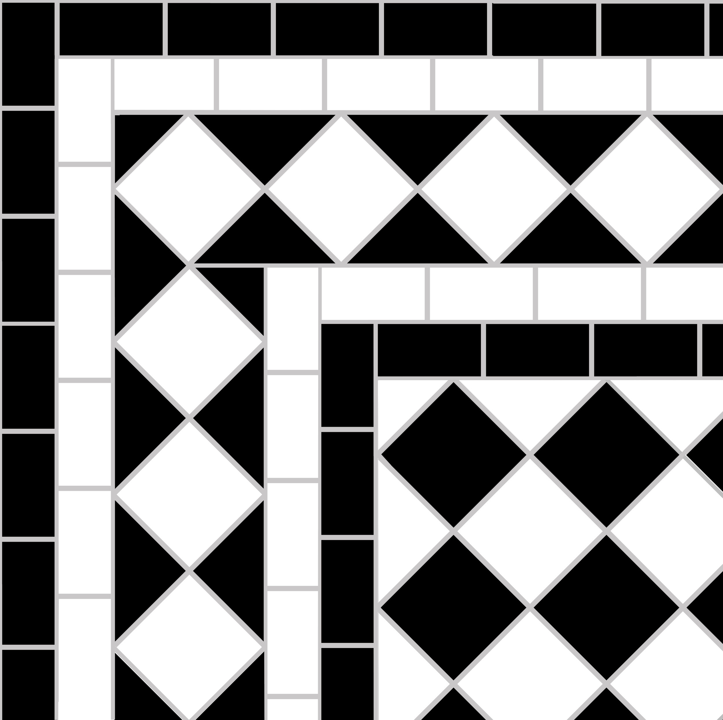Black and white victorian tile design showing a white   diamond border   with four lines.