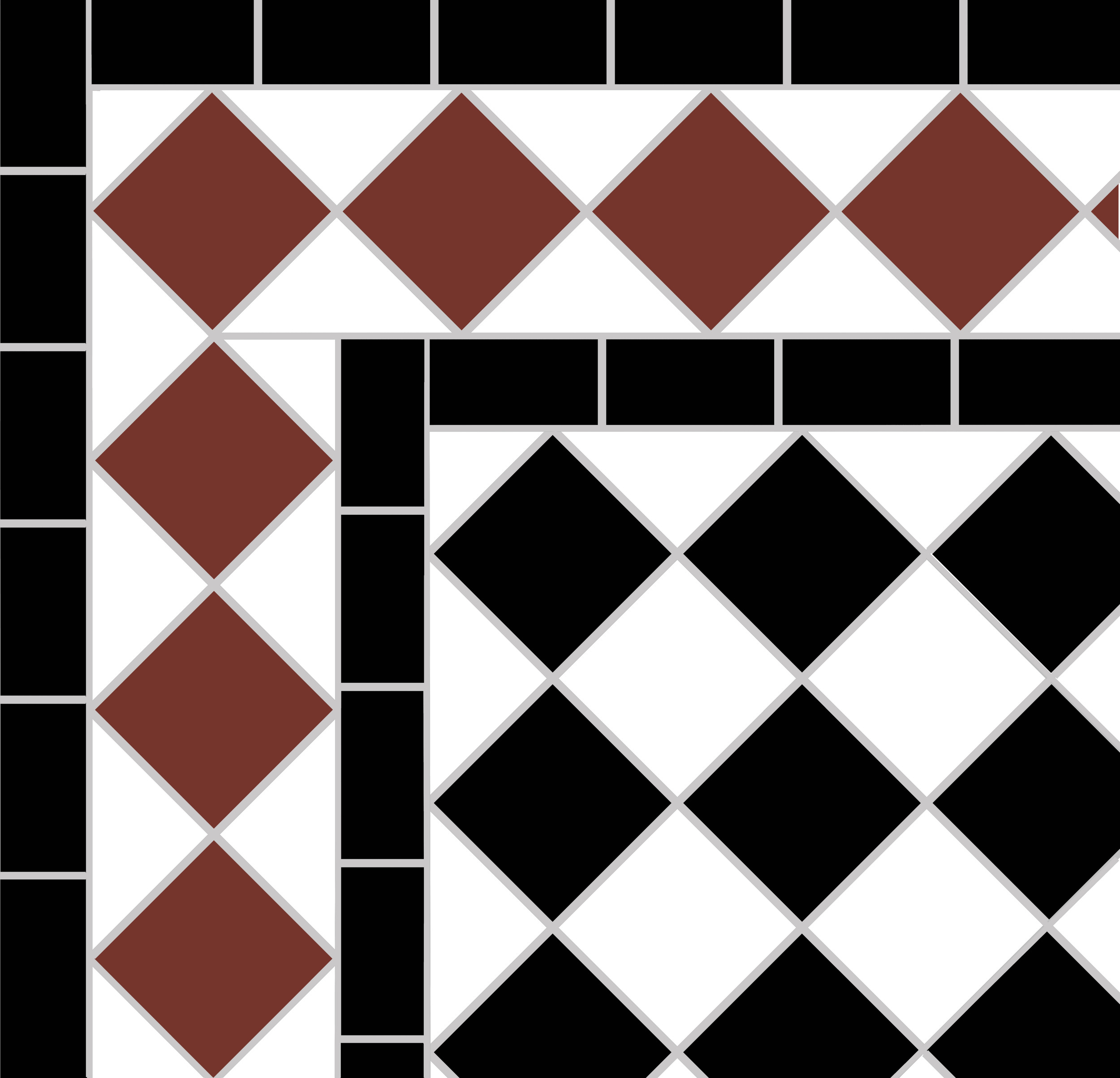 Black and white victorian tile pattern showing corner detail of the Red  diamond border  with a single black line on each side.